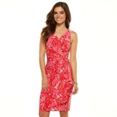 Chaps Drape-Front Ruched Dress - Women's/
