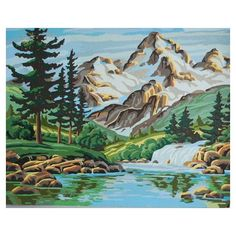Vintage Mountain Lake Pine Forest Paint By Number Midcentury Unframed PBN found on Polyvore