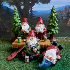 Gnome partying in the miniature fairy garden.