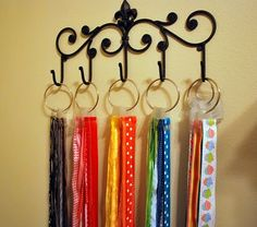 neat idea to organize ties, ribbons, belts, scarves...