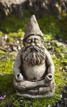 Fred, zen meditating gnome garden statue.  Teaching us how we too can bond intimately with the natural and spiritual world around us