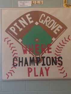 See the source image Baseball Bulletin Boards, Classroom Bulletin Boards, Classroom Calendar, Sports Theme Classroom, Classroom Images, Classroom Ideas, Eureka School, Team Theme, Baseball Posters