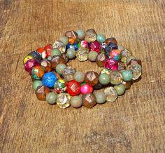 Earthy Bright Czech Glass and Impression Jasper Bracelets Set of 3 by SassyBelleWares