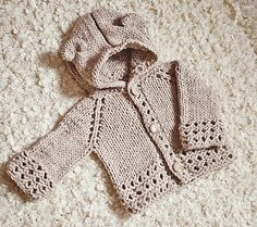 Ravelry: Bear Cub Hooded Cardigan pattern by Mon Petit Violon Crochet Fabric, Crochet Bear, Cute Crochet, Crotchet, Crochet Dolls, Clothing Patterns, Knitting Patterns, Crochet Patterns, Afghan Patterns