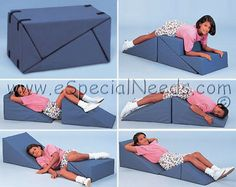 The Positioning Wedge System a versatile therapy wedge and ideal for special needs children with limited range of motion or postural impairments. Compact Furniture, Modular Furniture, Space Saving Furniture, Furniture Design, Transforming Furniture, Wedge Pillow, Playroom Furniture, Support Pillows, Cerebral Palsy
