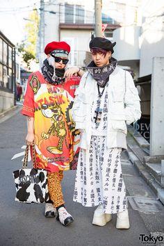 Harajuku Guys in Kanji Print Fashion