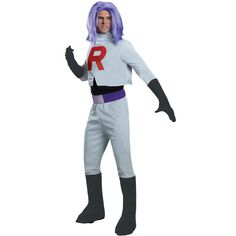 Look just like the menacing James from Team Rocket with this awesome officially licensed Pokemon costume. You can look dashingly dangerous with the jumpsuit with attached boot covers, gloves, and a be