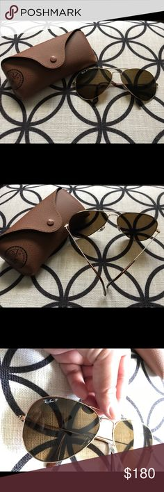 Ray Ban - Polarized Ray Bans - Frame 58 - Polarized - Brown with gold frames. Comes with receipt. Ray-Ban Accessories Glasses