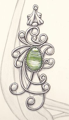 I made a study of gems in Jugendstill jewelery. I drew them with a black micron and colored with my Faber Castell Polichromos coloring penc...