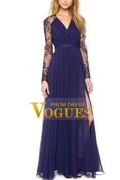 2016 vestidos de gasa de la longitud del piso cuello en V Señora
