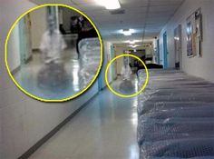 Wheelchair Ghost - from Q Everyone can see a man in a white shirt, possibly in a wheel chair, but look again: I see a man pushing a woman with her arms crossed over her chest. I can see her face turned to the right. Could it be this caregiver is still on the job?