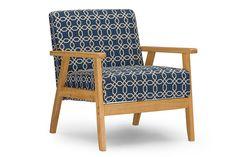WholeSale Interiors Baxton Studio Francis Retro Mid Century Navy Blue Patterned Fabric Armchair -