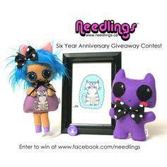 Enter to win at http://www.facebook.com/needlings #needlingssixth #needlings #handmade #etsy #plush #kitty #cat #felt #crafts #craft #kawaii #doll #spoonflower #illustration