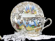 Colclough Crinoline Lady, Gilt Chintz Teacup, Vintage Cup and Saucer, English Bone China 12715