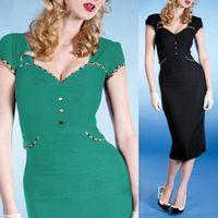 2016 Nova Mulheres Elegante Do Vintage Formal Lace Botão Vestidos de Verde e preto Com Decote Em V Na Altura Do Joelho-Comprimento Da Bainha de Manga Curta Escritório vestido