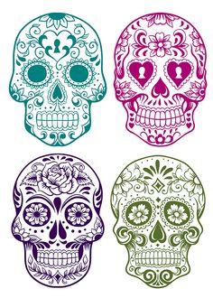Free Halloween Printables: Day of the Dead Sugar Scull, Sugar Skull Art, Sugar Skull Painting, Mexican Skulls, Mexican Art, Kitsune Maske, Los Muertos Tattoo, Tattoo Caveira, Totenkopf Tattoos