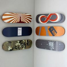 skateboards.im ganna do this to my son's room...when i get marryed and have kids haha