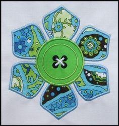 INSTANT DOWNLOAD Button Daisy Flower Applique designs 2 sizes