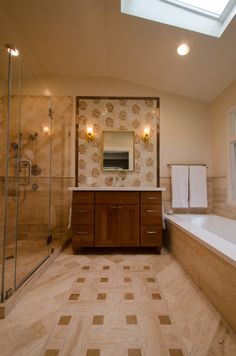 After Bathroom Remodel, Custom Cherry Vanity Cabinet and Chrysanthamum Mosaic Tile Feature & Tile Rug Inset