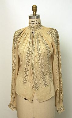 Romanian Blouse / Ie / La blouse roumaine / Date: . Dimensions: [no dimensions available]. Credit Line: Gift of Art Worker's Club, 1945 Folk Fashion, Vintage Fashion, Ethnic Fashion, Vintage Outfits, Vintage Mode, Embroidery Fashion, Folk Costume, Couture, Blouse Vintage