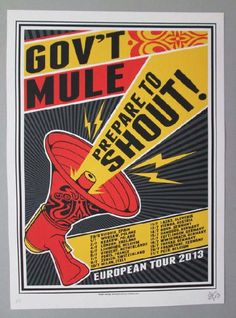 Original concert poster for Gov't Mu7le's European Tour in 2013 Winter. 16 x 22 inches. Signed and numbered as an ARTIST EDITION by the artist John Warner.