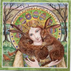 This Pagan Wiccan Greeting Card, designed by celebrated Artist Wendy Andrew is the perfect Greeting card for you to send to loved ones for any occasion! Fantasy Kunst, Fantasy Art, Lapin Art, Vernal Equinox, Photo D Art, Rabbit Art, Bunny Art, Beltane, Celtic Art
