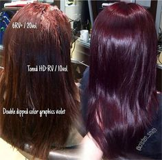 """Red, Red Wine Cristen Smith (Cristen Smith) a hairstylist and Style Expert works out of Serene Salon in south Florida. This merlot color she created """"makes us want to drink red wine!""""""""My client comes every six weeks and does … – Station Of Colored H Violet Hair Colors, Red Violet Hair, Plum Hair, Burgundy Hair, Brown Hair, Matrix Hair Color, Hair Color Dark, Cool Hair Color, Color Red"""