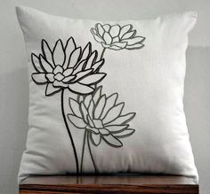 Green and Brown Water Lily Throw Pillow Cover 18 x