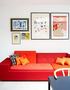 White and Red Minimalist and Colorful Living Room Design Ideas