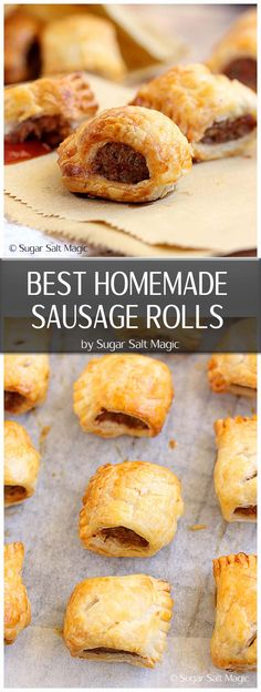 An easy 5 ingredient recipe for the best homemade sausage rolls ever by Sugar Salt Magic. Such a perfect, easy snack. via snacks savory The Best Homemade Sausage Rolls - just 5 ingredients Vol Au Vent, Savory Snacks, Easy Snacks, Homemade Sausage Rolls, Best Sausage Roll Recipe, Healthy Sausage Rolls, Easy Homemade Recipes, Pastry Recipes, Cooking Recipes