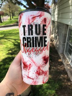 Excited to share this item from my shop: True Crime Tumbler Crime Show Tumbler True Crime Obsessed Cup Blood Splatter Tumbler Hand Painted Tumbler True Crime Addict Gift Vinyl Tumblers, Custom Tumblers, True Crime, Coffee Cup Crafts, Tumblr Cup, Insulated Cups, Custom Cups, Glitter Cups, Personalized Cups