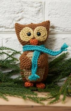 Wise Owl Ornament Free Amigurumi Crochet Pattern from Red Heart Yarns