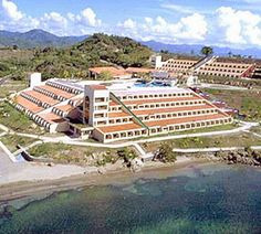 Hotel Brisas Los Galeones All-Inclusive hotel is located on a beautiful 2.5 miles long Caribbean beach of volcanic sand, with the Sierra Maestra Mountains as a picture-postcard backdrop