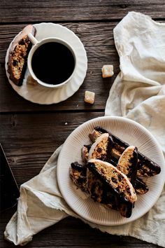 chocOlate candied ginger biscotti with coffee