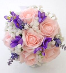 Suitable for a flower girl or younger bridesmaid, this posy bouquet contains pale pink roses, purple freesia, lilac lavender and ivory gypsophila. Pale Pink, Pink Roses, Lilac, Lavender, Purple, Gypsophila, Wedding Bridesmaids, Floral Wreath, Bouquet