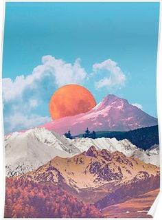 'Landscape Collage Poster by Mooncrabart Collage Landscape, Nature Collage, Surreal Collage, Surreal Art, Collage Mural, Paper Collage Art, Photo Wall Collage, Picture Collages, Photo Instagram