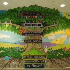 Perhaps chalkboard paint or at least a repaintable space for words, for when PBIS is no longer the thing? School Entrance, School Hallways, School Murals, Art School, School Displays, Classroom Displays, Classroom Decor, School Classroom, 7 Habits Tree