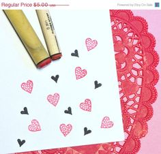 CIJ SALE Heart Duo Rubber Stamp Set by norajane on Etsy #CT #Christmasinjuly