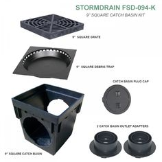 StormDrain Square Black Catch Basin Drain Box Kit with Grate and Debris Trap Filter – Catch Basins – Landscape & Drainage Backyard Drainage, Landscape Drainage, Backyard Landscaping, Landscaping Ideas, Catch Basin Drain, Clogged Pipes, Drainage Solutions, French Drain, Top Soil