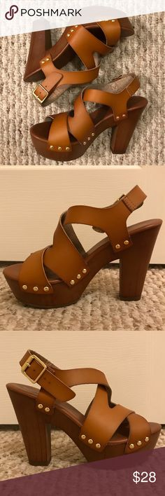 """Tan Heels Great condition. Only worn a couple times. Very easy/comfortable to walk in. Buckles around the ankle. One small nick on the right shoe as seen in the last picture, but your foot will cover it. Heel: approx. 5"""". NO TRADES. Mossimo Supply Co. Shoes Platforms"""