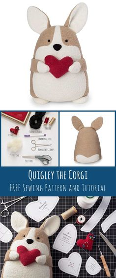 "Sewing Tutorials - Quigley the Corgi free sewing pattern comes just in time for making the perfect Valentine's Day gift! Nothing says ""I love you"" like a handmade corgi you can squeeze! Sewing Hacks, Sewing Tutorials, Sewing Tips, Sewing Crafts, Tutorial Sewing, Clay Tutorials, Sewing Ideas, Corgi Plush, Leftover Fabric"
