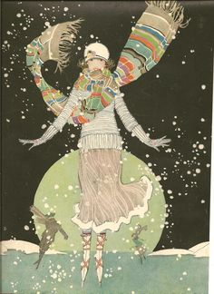 .skater wearing scarf  from the cover of 1920 Woman's Magazine.