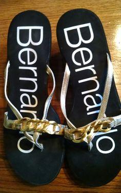 f52abac97c03 Bernardo Sandals Wedges Thongs Black Gold Straps Size 10 Summer Womens Shoes   Bernardo  PlatformsWedges
