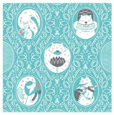 Woodland creatures on a pretty blue patterned background.  Love.