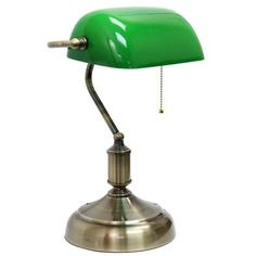 Simple Designs  Executive Banker's Desk Lamp With Glass Shade ($60) ❤ liked on Polyvore featuring home, lighting, desk lamps, glass shade lamp and green glass shade bankers lamp
