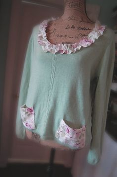 Cashmere Sweater in Heather Mint Green Luxury by OfLinenandLace, $73.50