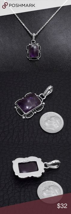 """Sterling Silver Amethyst Pendant (Pendant Only) Pendant Stamped """"Sterling"""". Authentic stone with natural scratches & inclusions.  This is not a stock photo. The image is of the actual article that is being sold  Sterling silver is an alloy of silver containing 92.5% by mass of silver and 7.5% by mass of other metals, usually copper. The sterling silver standard has a minimum millesimal fineness of 925.  All my jewelry is solid sterling silver. I do not plate.   Hand crafted in Taxco, Mexico…"""