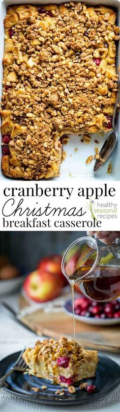 If you are looking for a make-ahead breakfast casserole for Christmas morning, look no further. This Cranberry Apple Christmas Casserole will be a huge hit with the whole family and it can be assembled the day before. It's made with vanilla Greek yogurt, Christmas Breakfast Casserole, Make Ahead Breakfast Casserole, Breakfast Bake, Healthy Breakfast Recipes, Brunch Recipes, Apple Breakfast, Breakfast Ideas, Healthy Recipes, Morning Breakfast