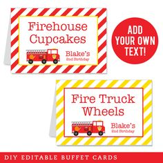 Shop by Theme - Fire Truck Party Fireman Party, Brochure Paper, Birthday Packages, Birthday Diy, Fourth Birthday, Food Tent, Text Features, Tent Cards, Letter Size Paper