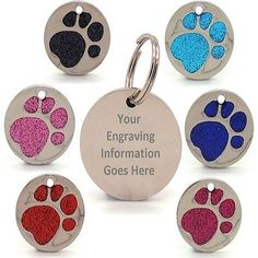 Personalised engraved #glitter paw #print tag dog cat pet id tags #reflective,  View more on the LINK: http://www.zeppy.io/product/gb/2/321773425965/